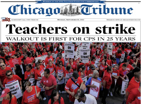 Chicago Tribune Front Page: Teachers on Strike