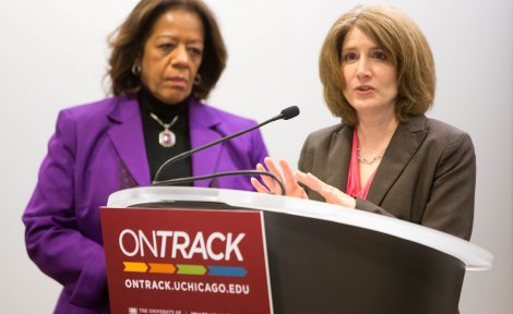 Elaine Allensworth discusses findings at the April 2014 OnTrack press conference