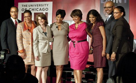Panel members for the roundtable included, left to right, Shayne Evans, Julianne Malveaux, Elaine Allensworth, Tamron Hall, Russlynn Ali, Tim King and Mary Richardson-Lowry.
