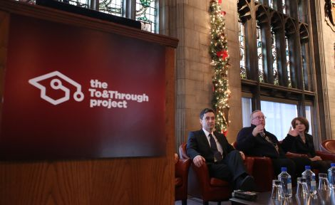 UEI's Tim Knowles and Elaine Allensworth present a panel discussion at the To&Through launch with Greg Darneider, Senior Advisor to Secretary of Education Arne Duncan on the College Access Initiative