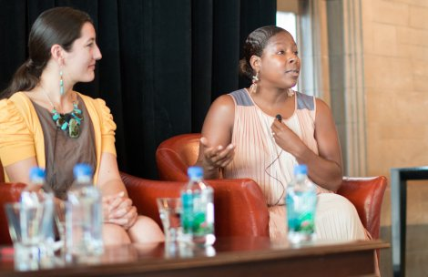 UChicago Charter veteran leader Tanika Island (right) and UChicago UTEP alum and UChicago Charter teacher Erica Emmendorfer (left) participate in the book talk panel