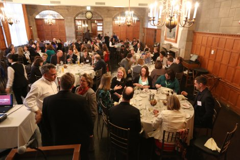 Journalists gathered for a welcome talk and dinner on the University of Chicago campus
