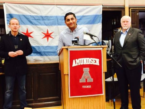 Alds. Ameya Pawar (47th), Tom Tunney (44th), and Pat O'Conner (40th) launched the overall GROWCommunity initiative at Amundsen High School on February 7, 2015