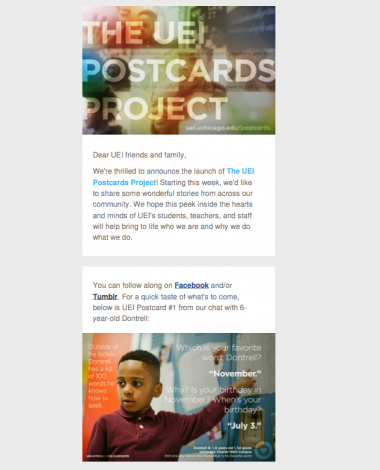 "Newsletter sample: UEI Postcards Project — a ""Humans of New York""-style peek inside the hearts and minds of the UEI community"